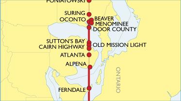 Sutton Bay Michigan Map.45th Parallel North America